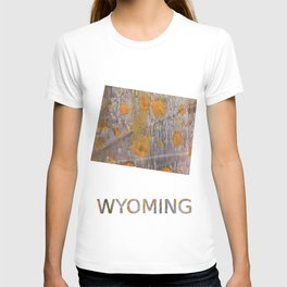 Wyoming map outline Yellow brown spots watercolor illustration T-shirt
