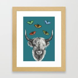 Heather the Highland Cow, Butterflies, pen and ink illustrations, blue Framed Art Print