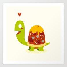 Pizza turtle Art Print