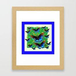 BLUE-BROWN BUTTERFLY GREEN ART Framed Art Print