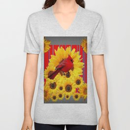 YELLOW SUNFLOWERS RED CARDINAL GREY  ART Unisex V-Neck