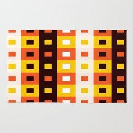 Geometric Pattern #74 (orange stripes squares) Rug