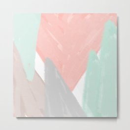 Soft angles - coral and mint abstract Metal Print