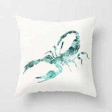 Green Shibori Scorpion  Throw Pillow