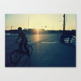 Bicycle Ride at Sunset Canvas Print
