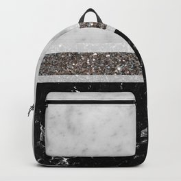 White and Black Marble Silver Glitter Stripe Glam #1 #minimal #decor #art #society6 Backpack