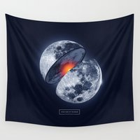 the moon Wall Tapestries featuring Moon by Steven Toang