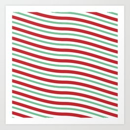 Red White and Green Christmas Candy Cane Pattern Art Print