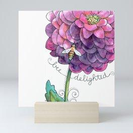 """bee delighted"" inspirational watercolor garden art Mini Art Print"