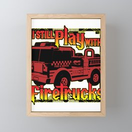 Firefighter Fire Truck Department Fire Engine Gift Framed Mini Art Print