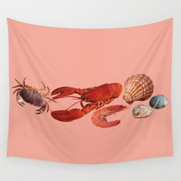 seafood shell scallop lobster shrimps coral Wall Tapestry