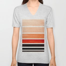 Burnt Sienna Minimalist Mid Century Modern Color Fields Ombre Watercolor Staggered Squares Unisex V-Neck
