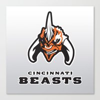 nfl Canvas Prints featuring Cincinnati Beasts - NFL by Steven Klock
