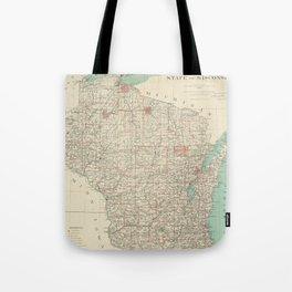 Vintage Map of Wisconsin (1886) Tote Bag