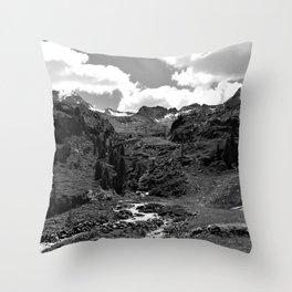 chairlift river kaunertal alps tyrol austria europe black white Throw Pillow