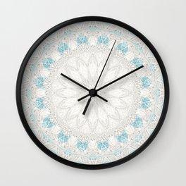 Bohemian Sea Foam Blue Creme Mandala Wall Clock