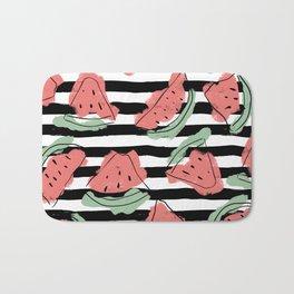 Geometric Artsy Watercolor Coral Mint Black Watermelon Bath Mat