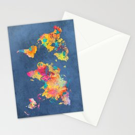world map blue 2061 #map #worldmap Stationery Cards