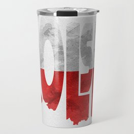 Polska / Poland Typographic Flag Map Art Travel Mug