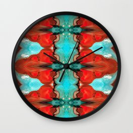 Color Chant - Red And Aqua Pattern Art By Sharon Cummings Wall Clock