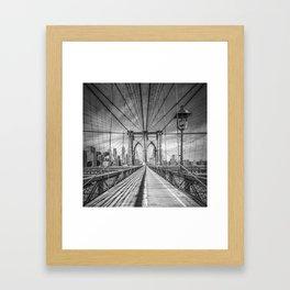 NEW YORK CITY Brooklyn Bridge | Monochrome Framed Art Print