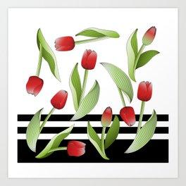Modern Vintage Red Tulip Floral Patten Art Print