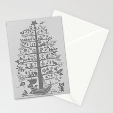 Christmas tree ship (gray) Stationery Cards