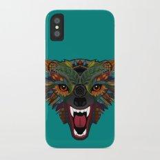 wolf fight flight teal Slim Case iPhone X