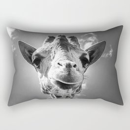 Cool Giraffe Black and White Rectangular Pillow