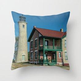 Southport Light Station Lighthouse Kenosha Wisconsin Lake Michigan Throw Pillow