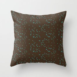 Brown Turquoise Shambolic Bubbles Throw Pillow