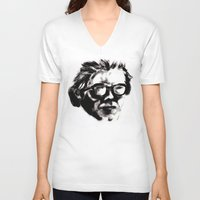 beethoven V-neck T-shirts featuring Hipster Beethoven by Hurtin Albertan