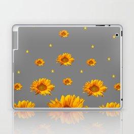 RAINING GOLDEN STARS YELLOW SUNFLOWERS GREY COLOR Laptop & iPad Skin