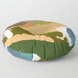 Big Sur Illustration Floor Pillow