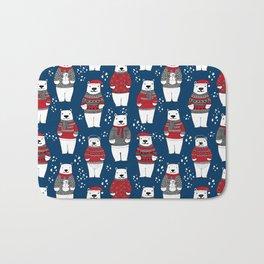 Polar Bear character cute christmas sweater polar bears nature illustration pattern Bath Mat