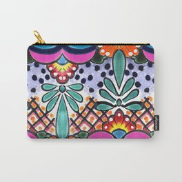 Colorful Talavera, Pink Accent, Large, Mexican Tile Design Carry-All Pouch