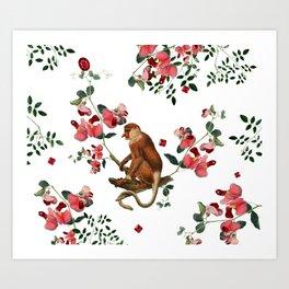 Monkey World: Nosy - White Art Print