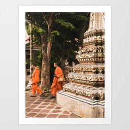 Monks in motion. Art Print