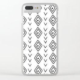 mudcloth 9 minimal textured black and white pattern home decor minimalist beach Clear iPhone Case