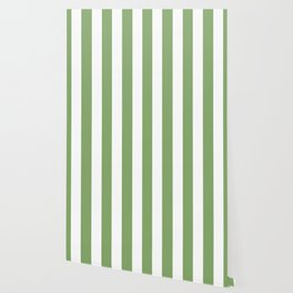 Asparagus green - solid color - white vertical lines pattern Wallpaper
