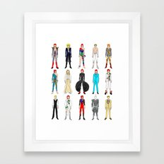 Outfits of Bowie Fashion on White Framed Art Print