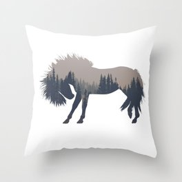 Woodland Horse Throw Pillow