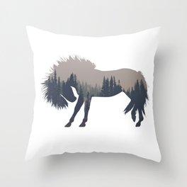 Woodland Horse Throw Pillow