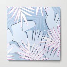Elegant Tropical Blue Banana Leaves Design Metal Print