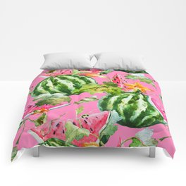 Watermelon Pattern with Pink Background Comforters