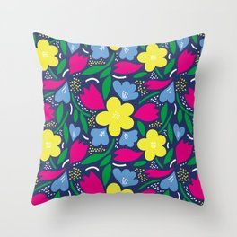 Floral Festival Throw Pillow