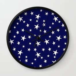 Stars - White on Navy Blue Wall Clock