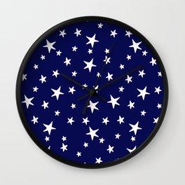 Stars - White on Dark Royal Blue Wall Clock