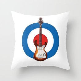 Retro electronic guitar logo Throw Pillow