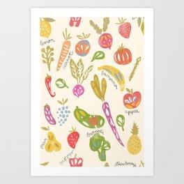 Veggies and Fruits Art Print